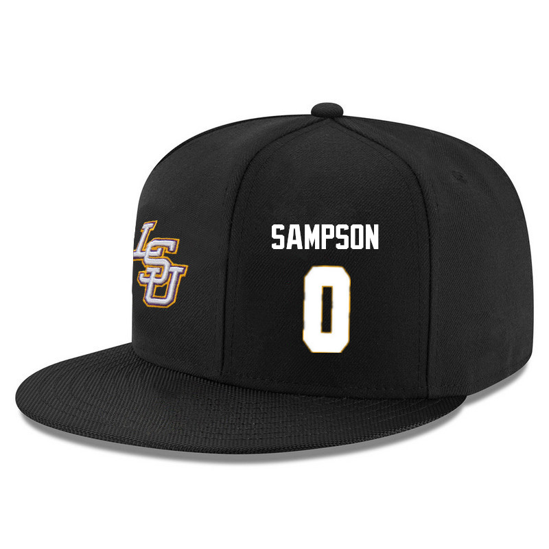 Men's LSU Tigers #0 Brandon Sampson Name&Number Player's Snapback Hats-Black