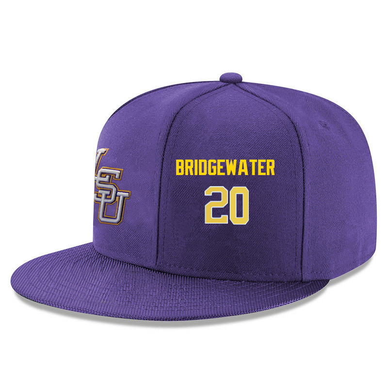 Men's LSU Tigers #20 Brian Bridgewater Name&Number Player's Snapback Hats-Purple