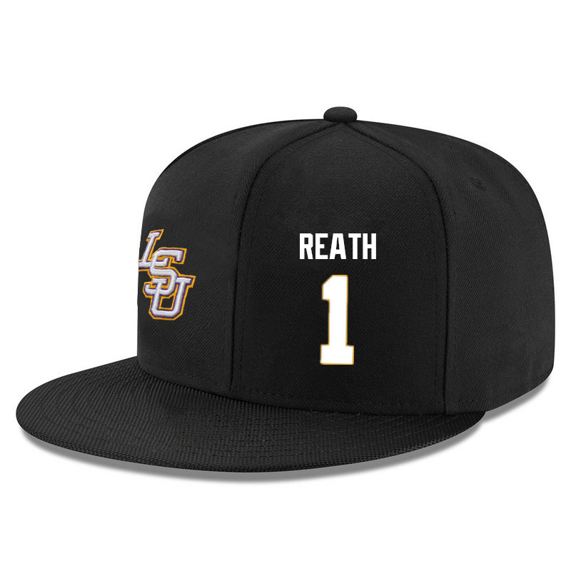 Men's LSU Tigers #1 Duop Reath Name&Number Player's Snapback Hats-Black