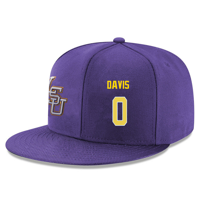 Men's LSU Tigers #0 Glen Davis Name&Number Player's Snapback Hats-Purple
