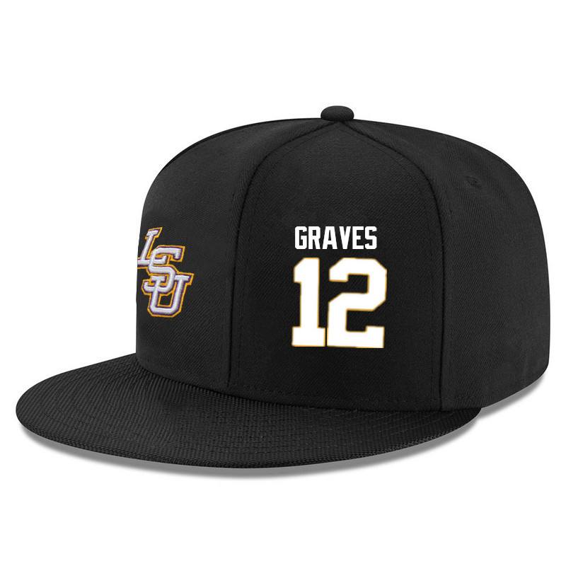 Men's LSU Tigers #12 Marshall Graves Name&Number Player's Snapback Hats-Black