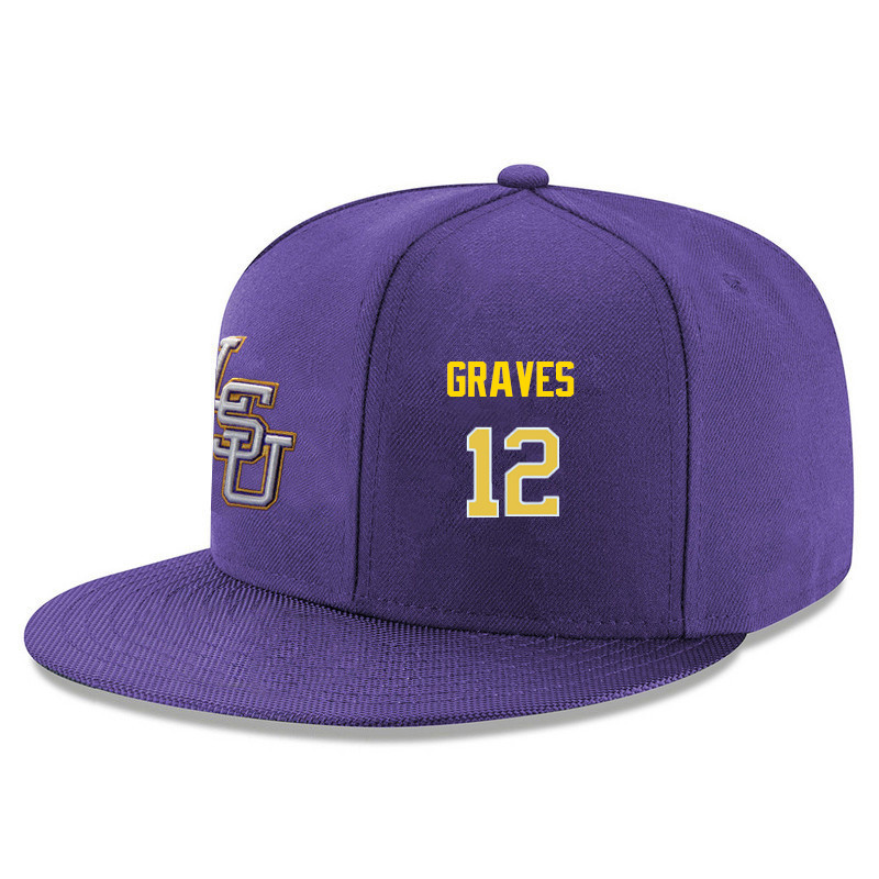 Men's LSU Tigers #12 Marshall Graves Name&Number Player's Snapback Hats-Purple