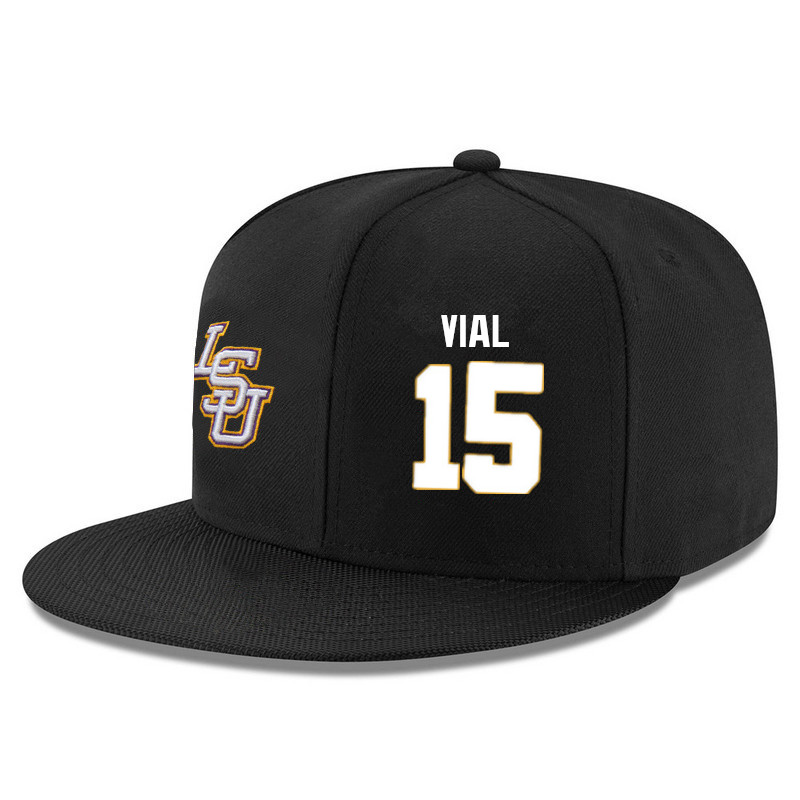 Men's LSU Tigers #15 Reed Vial Name&Number Player's Snapback Hats-Black