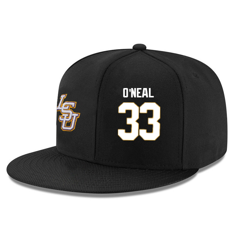 Men's LSU Tigers #33 Shaquille O'Neal Name&Number Player's Snapback Hats-Black