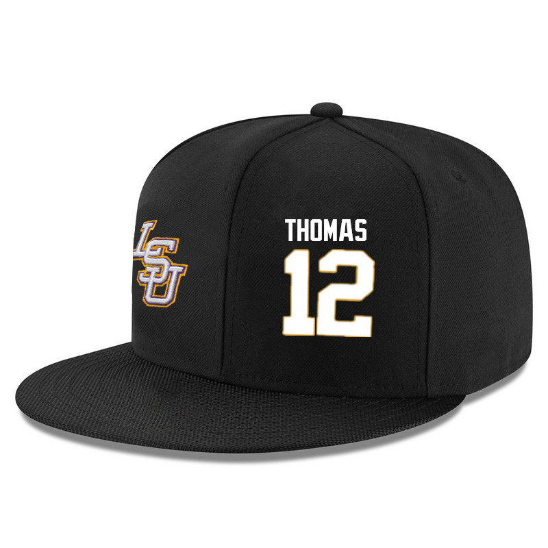 Men's LSU Tigers #12 Tyrus Thomas Name&Number Player's Snapback Hats-Black