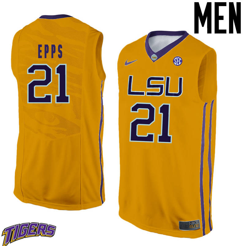 Men's #21 Aaron Epps LSU Tigers College Basketball Jerseys-Gold
