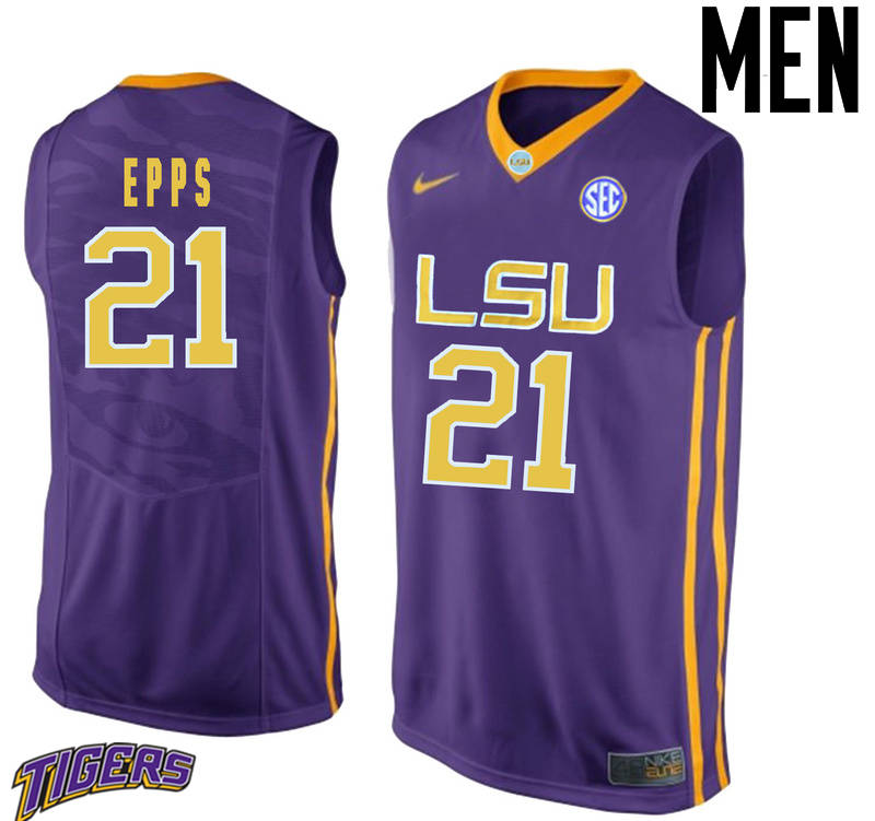 Men's #21 Aaron Epps LSU Tigers College Basketball Jerseys-Purple