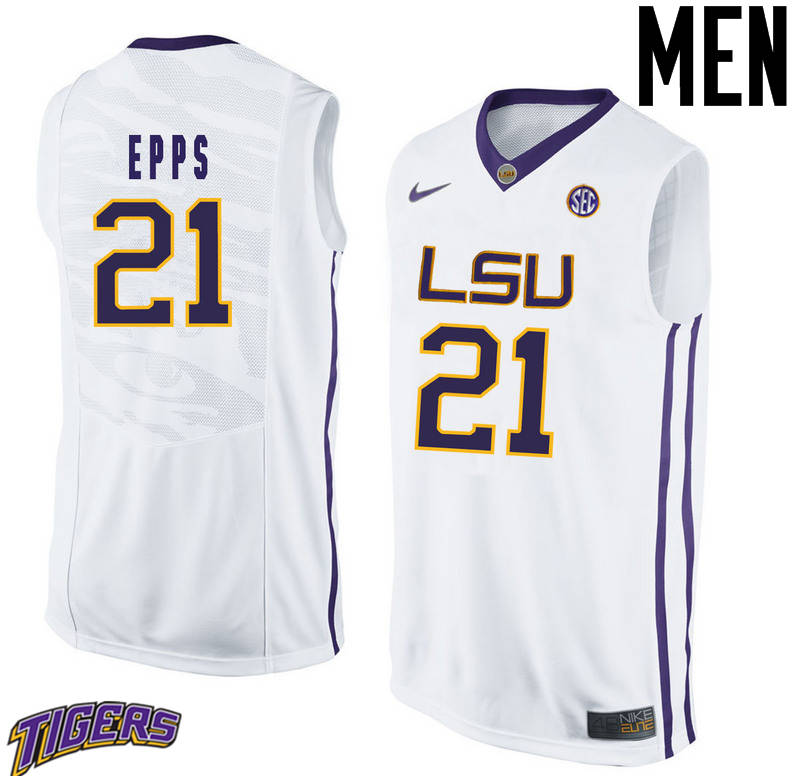 Men's #21 Aaron Epps LSU Tigers College Basketball Jerseys-White
