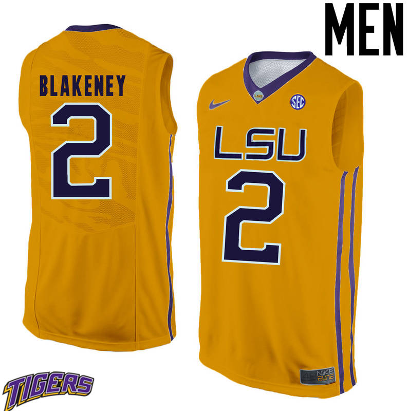 Men's #2 Antonio Blakeney LSU Tigers College Basketball Jerseys-Gold