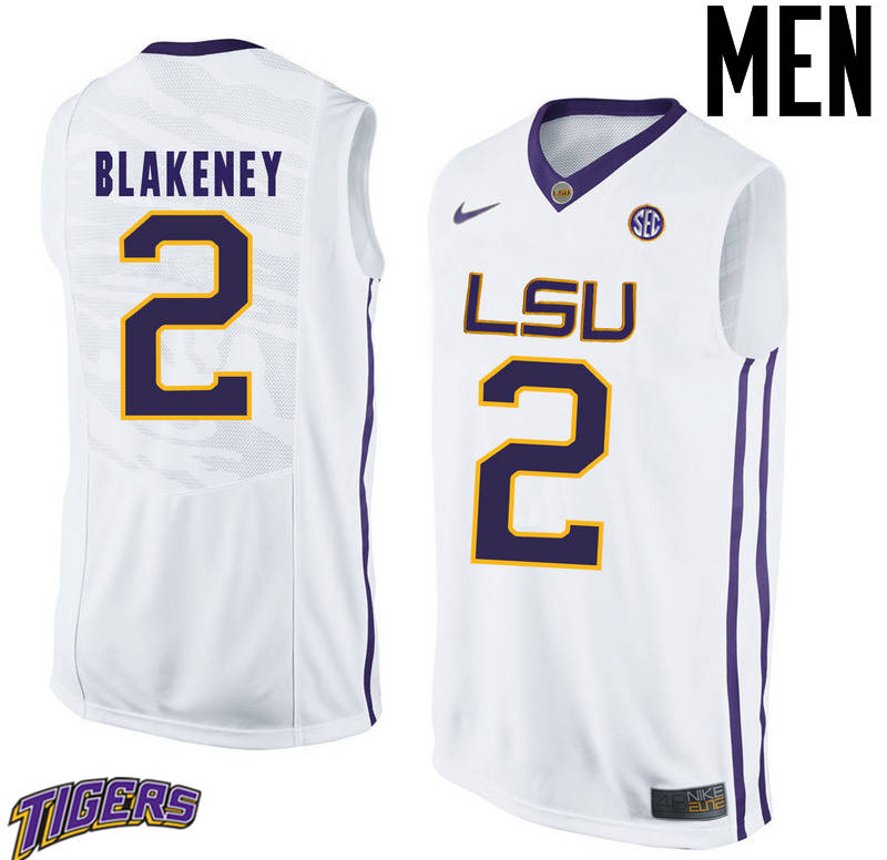 Men's #2 Antonio Blakeney LSU Tigers College Basketball Jerseys-White