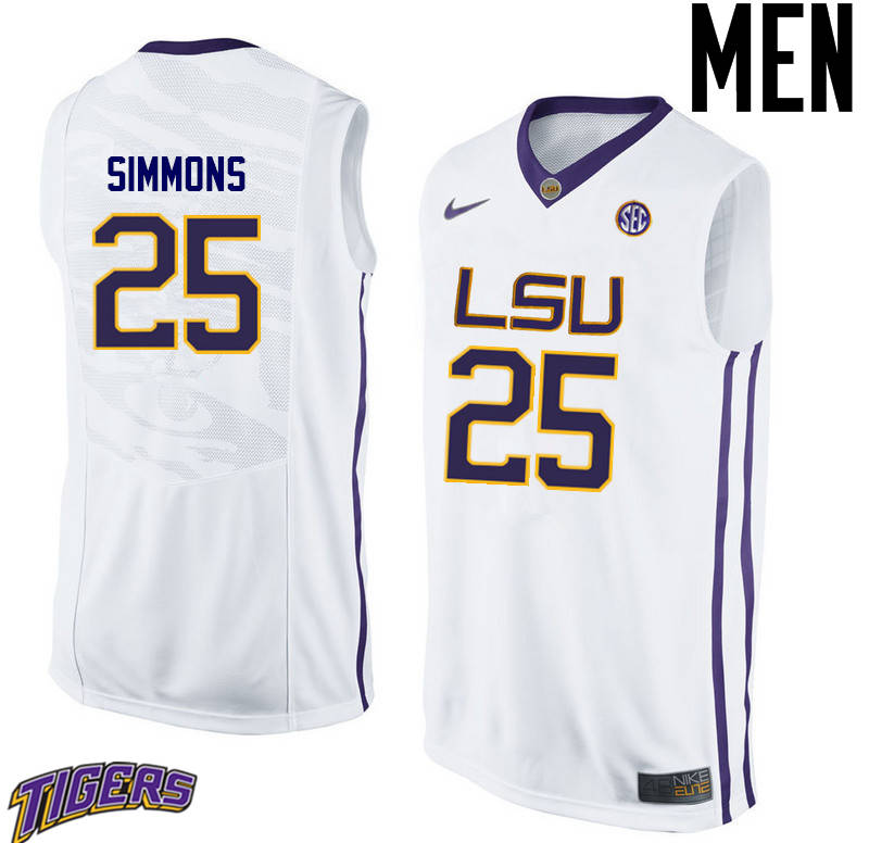Men's #25 Ben Simmons LSU Tigers College Basketball Jerseys-White