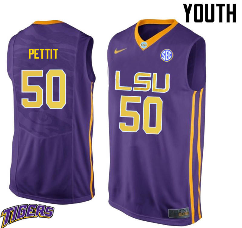 Youth #50 Bob Pettit LSU Tigers College Basketball Jerseys-Purple