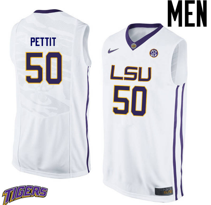 Men's #50 Bob Pettit LSU Tigers College Basketball Jerseys-White