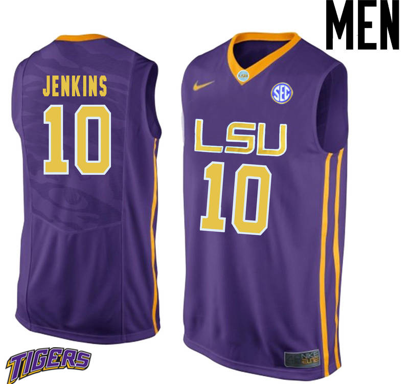 Men's #10 Branden Jenkins LSU Tigers College Basketball Jerseys-Purple