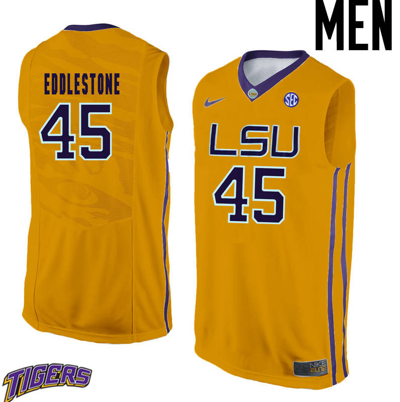 Men's #45 Brandon Eddlestone LSU Tigers College Basketball Jerseys-Gold