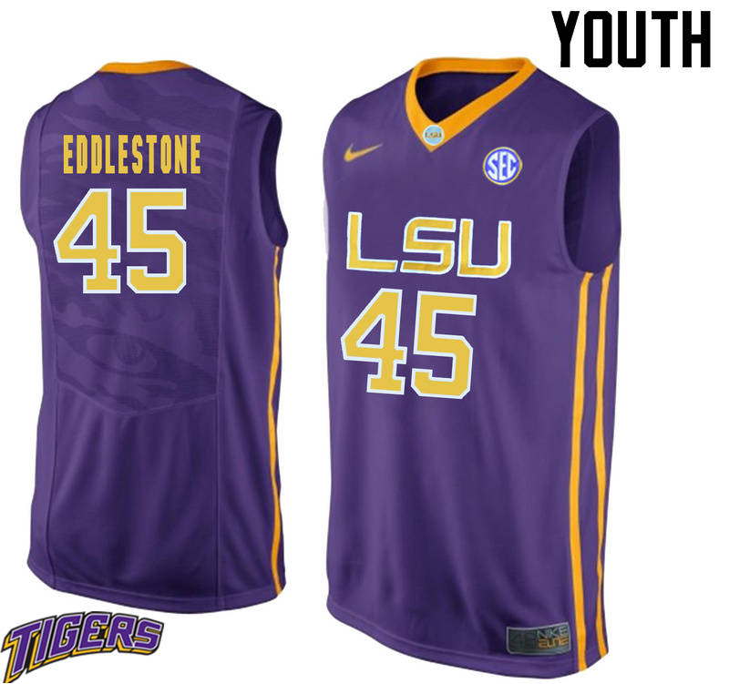 Youth #45 Brandon Eddlestone LSU Tigers College Basketball Jerseys-Purple