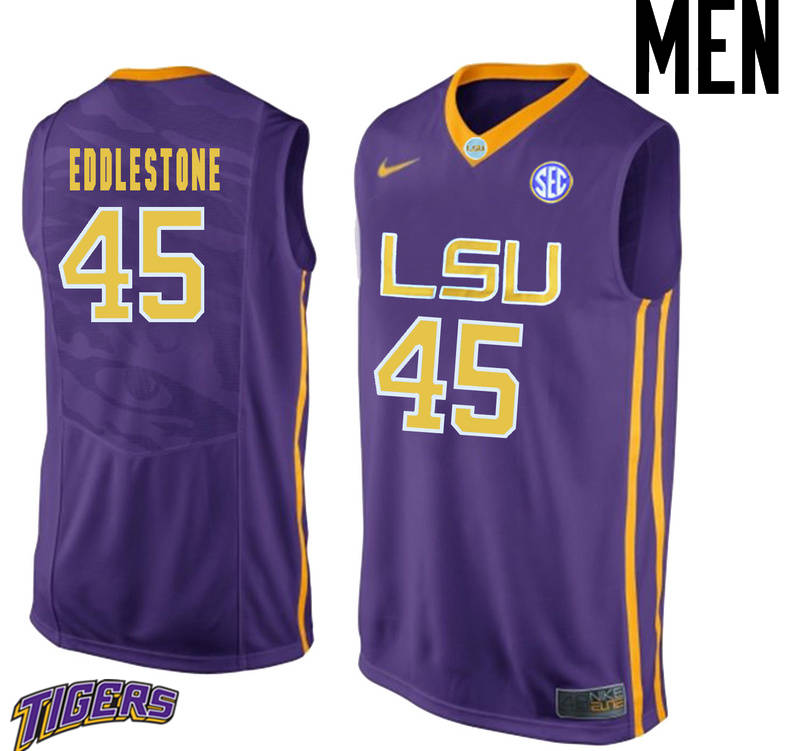 Men's #45 Brandon Eddlestone LSU Tigers College Basketball Jerseys-Purple