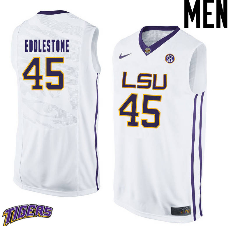Men's #45 Brandon Eddlestone LSU Tigers College Basketball Jerseys-White