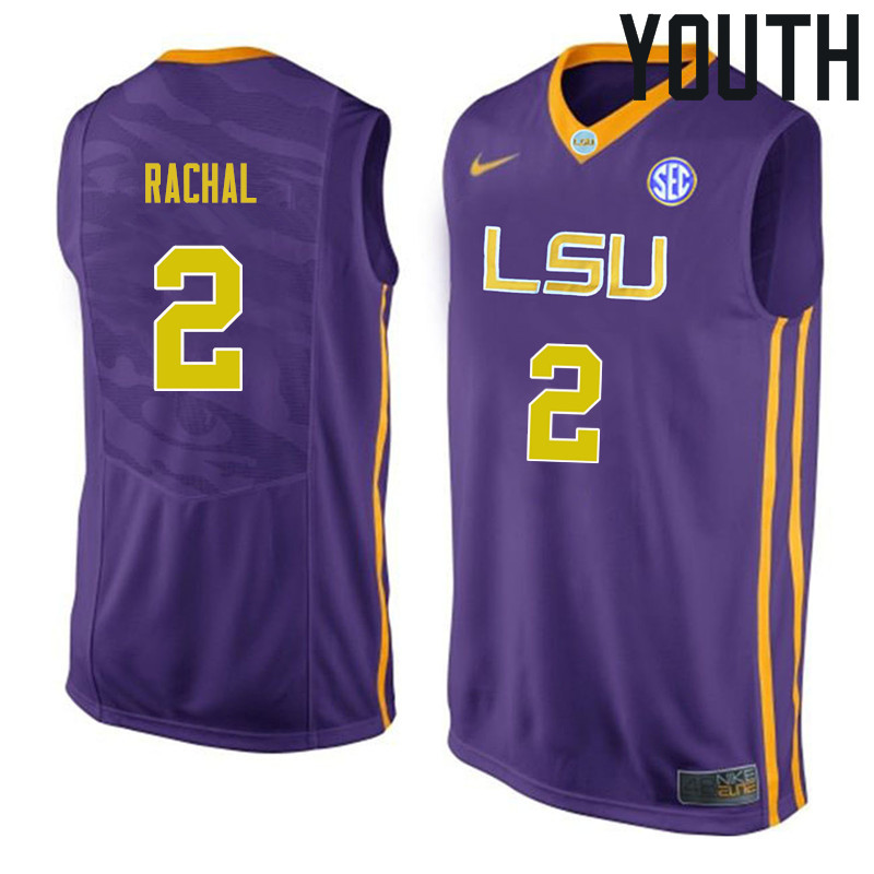 Youth #2 Brandon Rachal LSU Tigers College Basketball Jerseys Sale-Purple