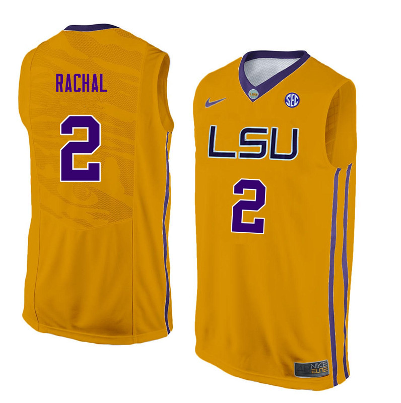 Men #2 Brandon Rachal LSU Tigers College Basketball Jerseys Sale-Yellow