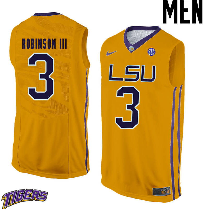Men's #3 Elbert Robinson III LSU Tigers College Basketball Jerseys-Gold
