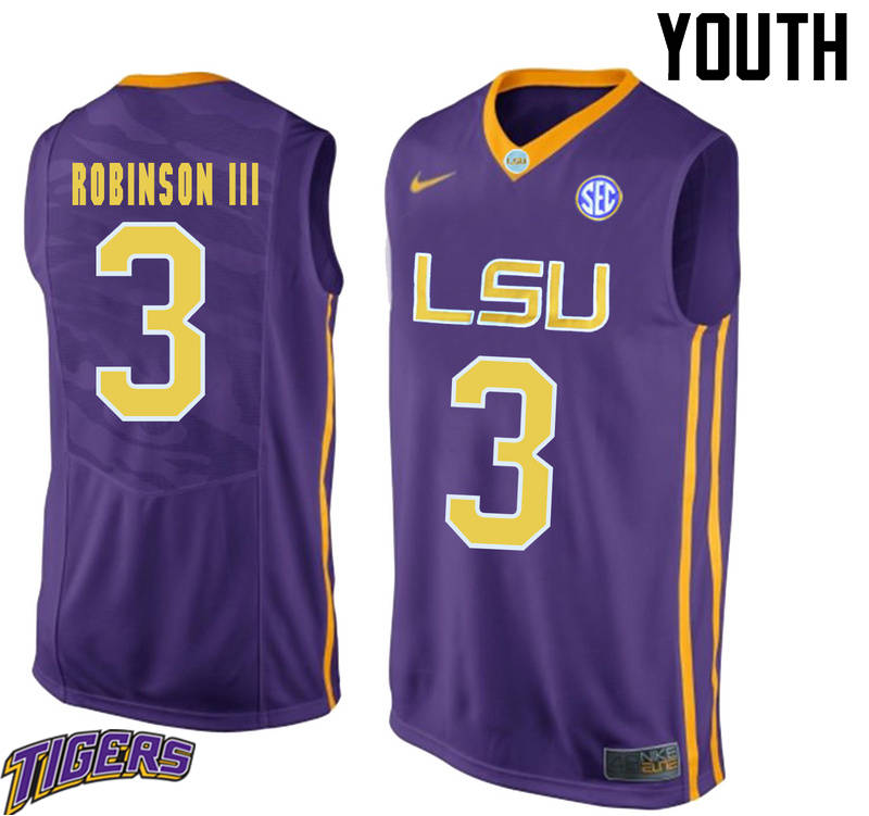 Youth #3 Elbert Robinson III LSU Tigers College Basketball Jerseys-Purple