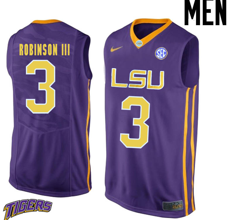 Men's #3 Elbert Robinson III LSU Tigers College Basketball Jerseys-Purple