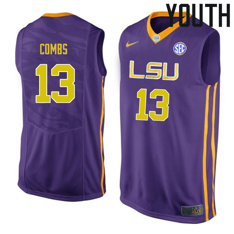 Youth #13 Jeremy Combs LSU Tigers College Basketball Jerseys Sale-Purple