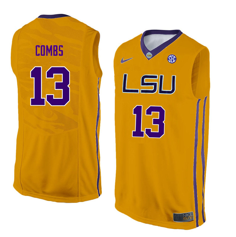 Men #13 Jeremy Combs LSU Tigers College Basketball Jerseys Sale-Yellow