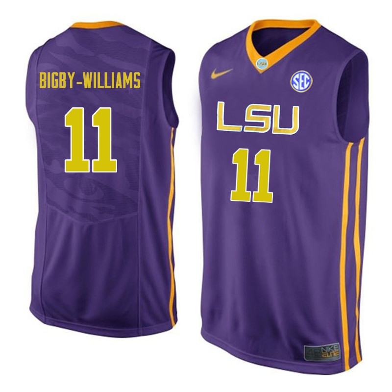 Men #11 Kavell Bigby-Williams LSU Tigers College Basketball Jerseys Sale-Purple
