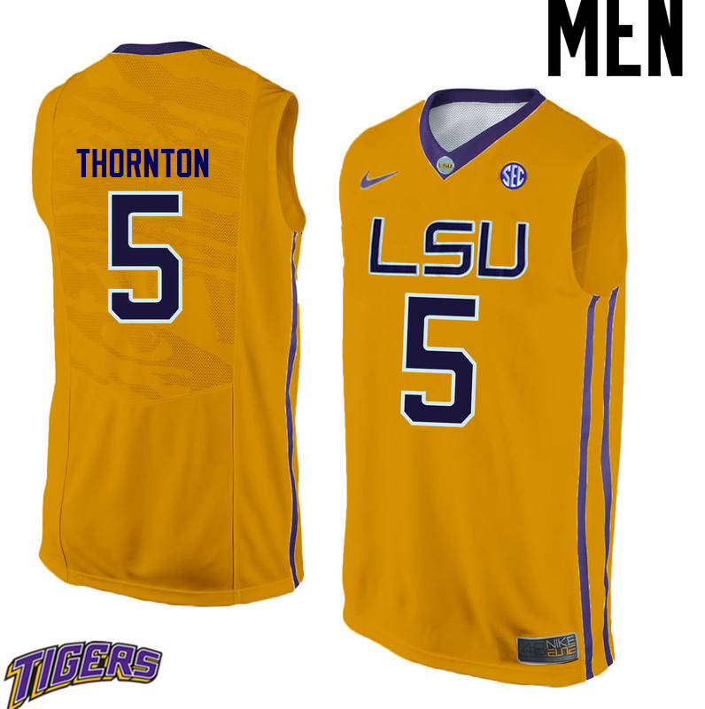 Men's #5 Marcus Thornton LSU Tigers College Basketball Jerseys-Gold