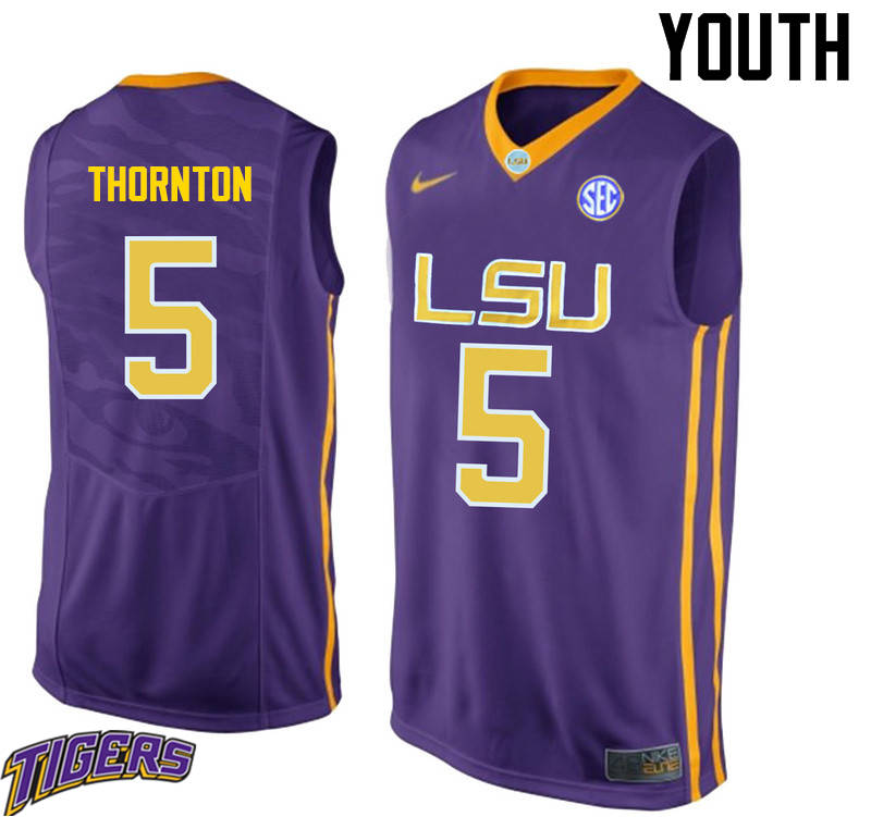 Youth #5 Marcus Thornton LSU Tigers College Basketball Jerseys-Purple