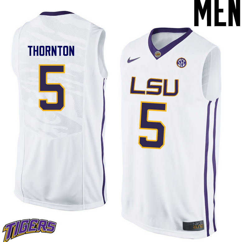 Men's #5 Marcus Thornton LSU Tigers College Basketball Jerseys-White