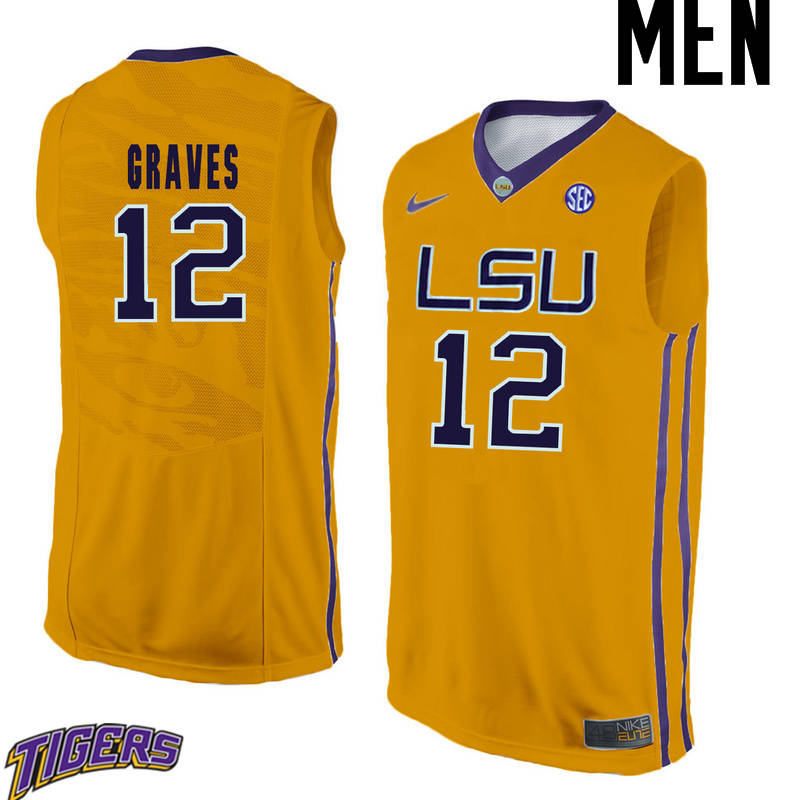 Men's #12 Marshall Graves LSU Tigers College Basketball Jerseys-Gold