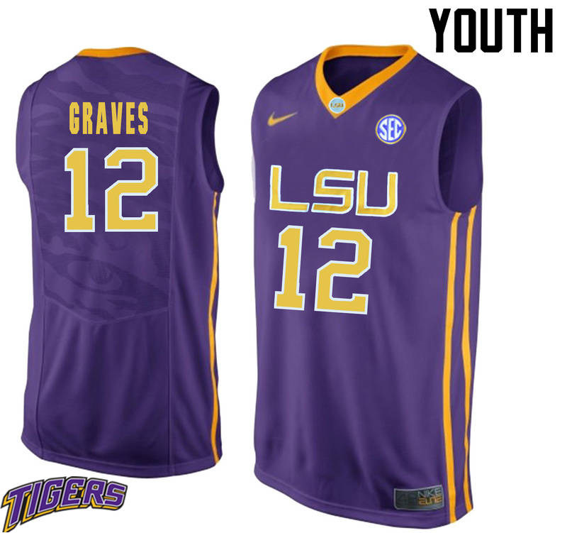 Youth #12 Marshall Graves LSU Tigers College Basketball Jerseys-Purple