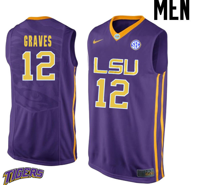 Men's #12 Marshall Graves LSU Tigers College Basketball Jerseys-Purple