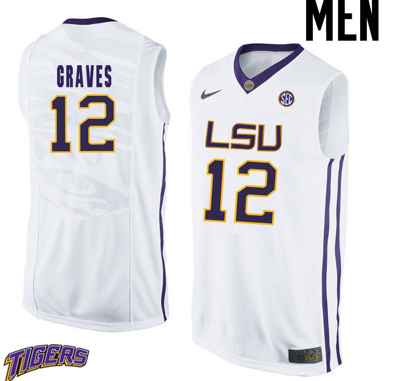 Men's #12 Marshall Graves LSU Tigers College Basketball Jerseys-White