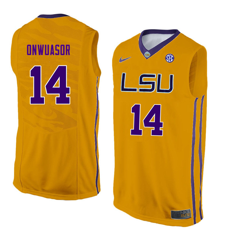Men #14 Randy Onwuasor LSU Tigers College Basketball Jerseys Sale-Yellow