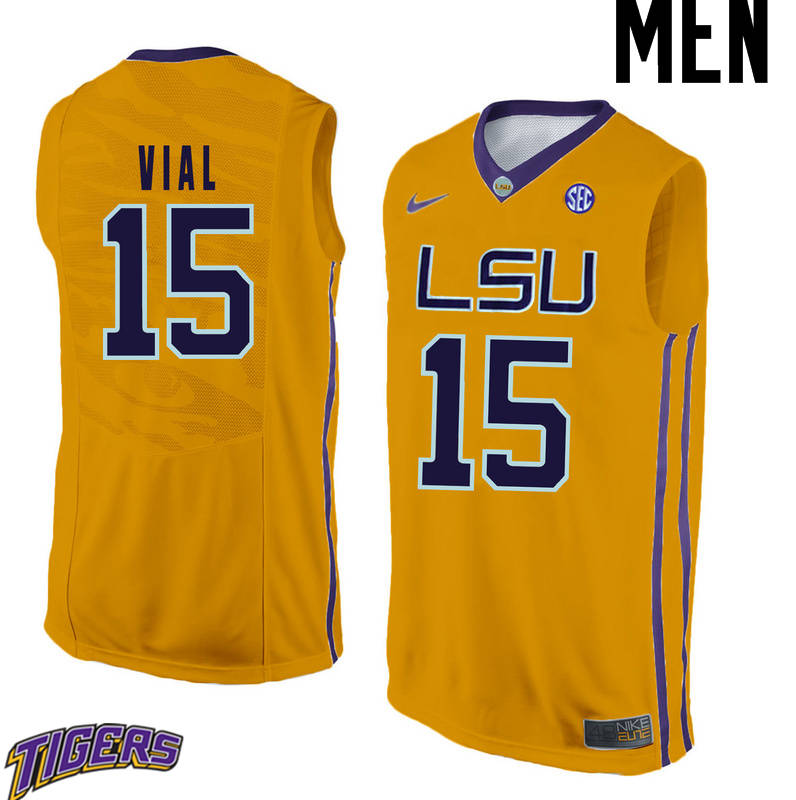 Men's #15 Reed Vial LSU Tigers College Basketball Jerseys-Gold