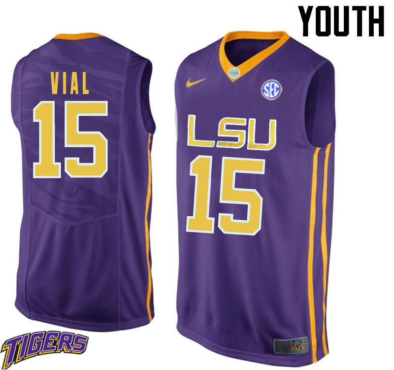 Youth #15 Reed Vial LSU Tigers College Basketball Jerseys-Purple