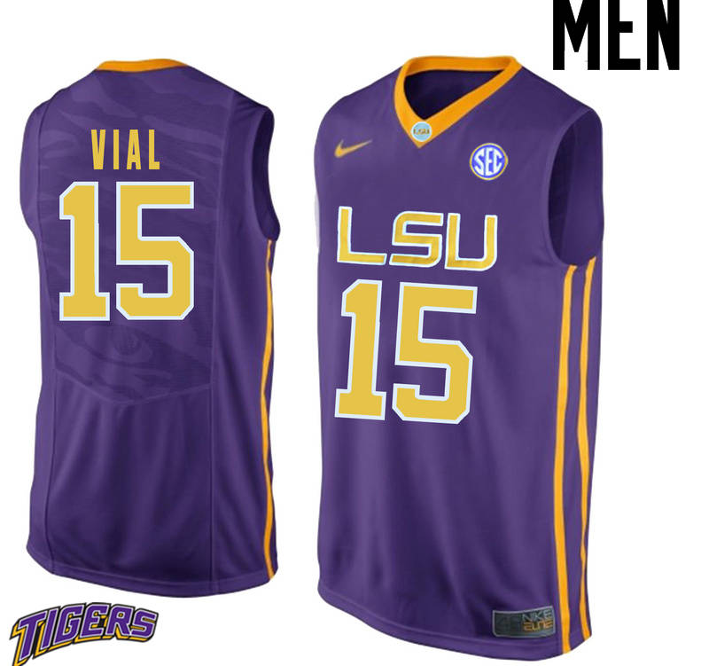 Men's #15 Reed Vial LSU Tigers College Basketball Jerseys-Purple