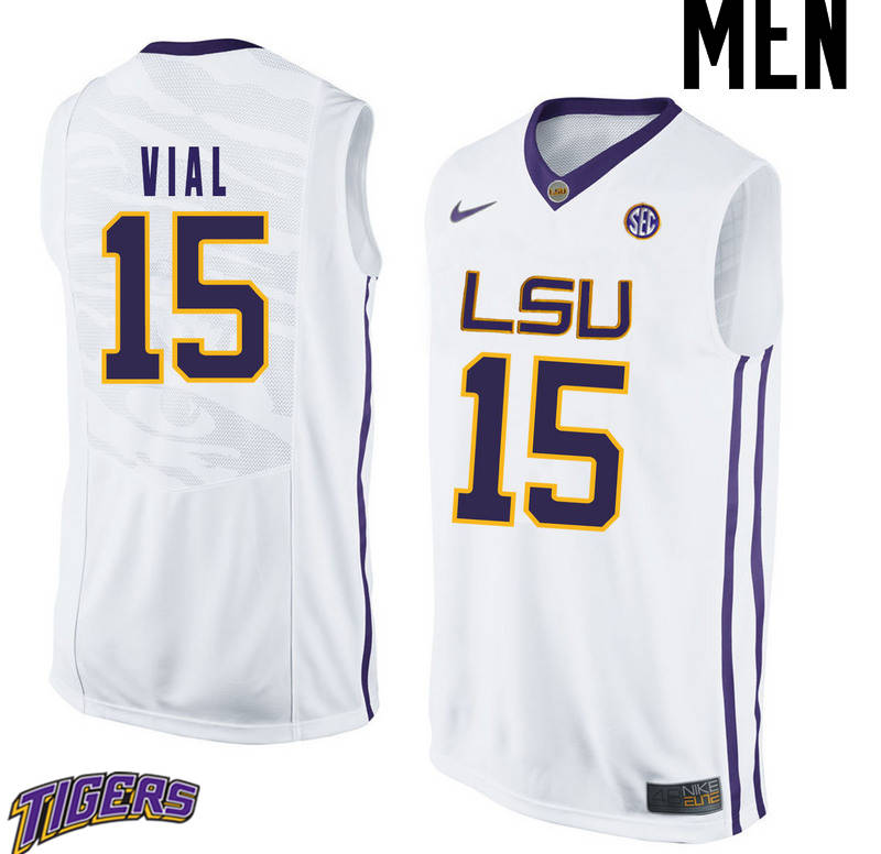 Men's #15 Reed Vial LSU Tigers College Basketball Jerseys-White