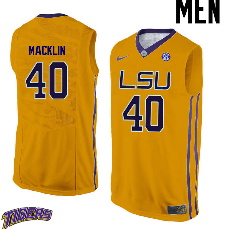 Men's #40 Rudy Macklin LSU Tigers College Basketball Jerseys-Gold