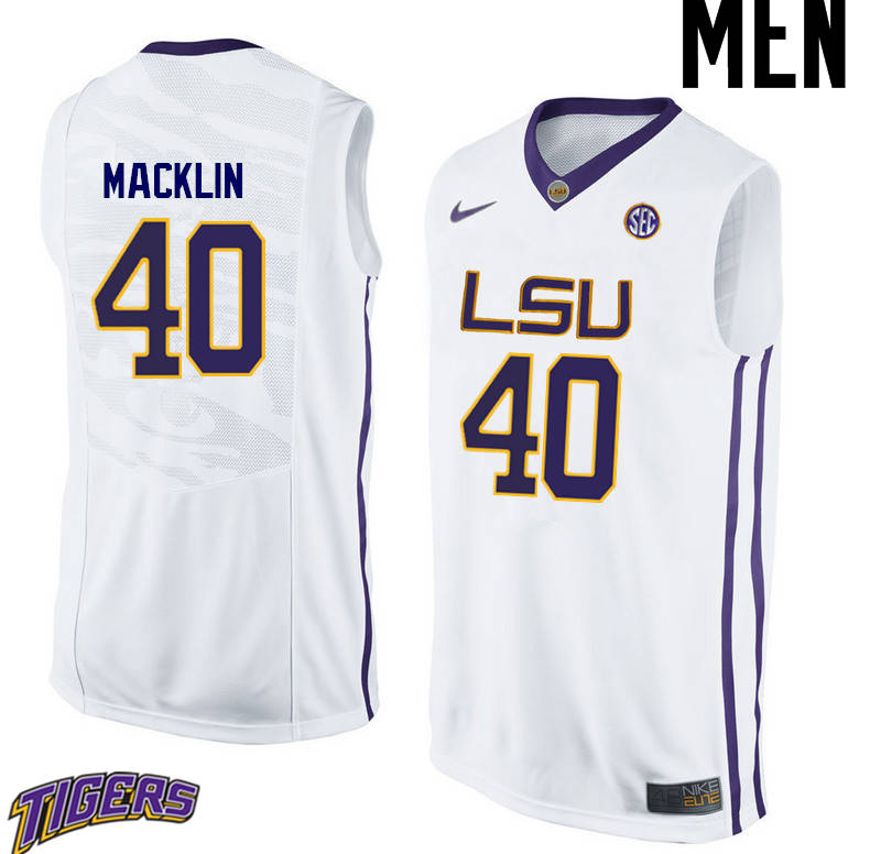 Men's #40 Rudy Macklin LSU Tigers College Basketball Jerseys-White