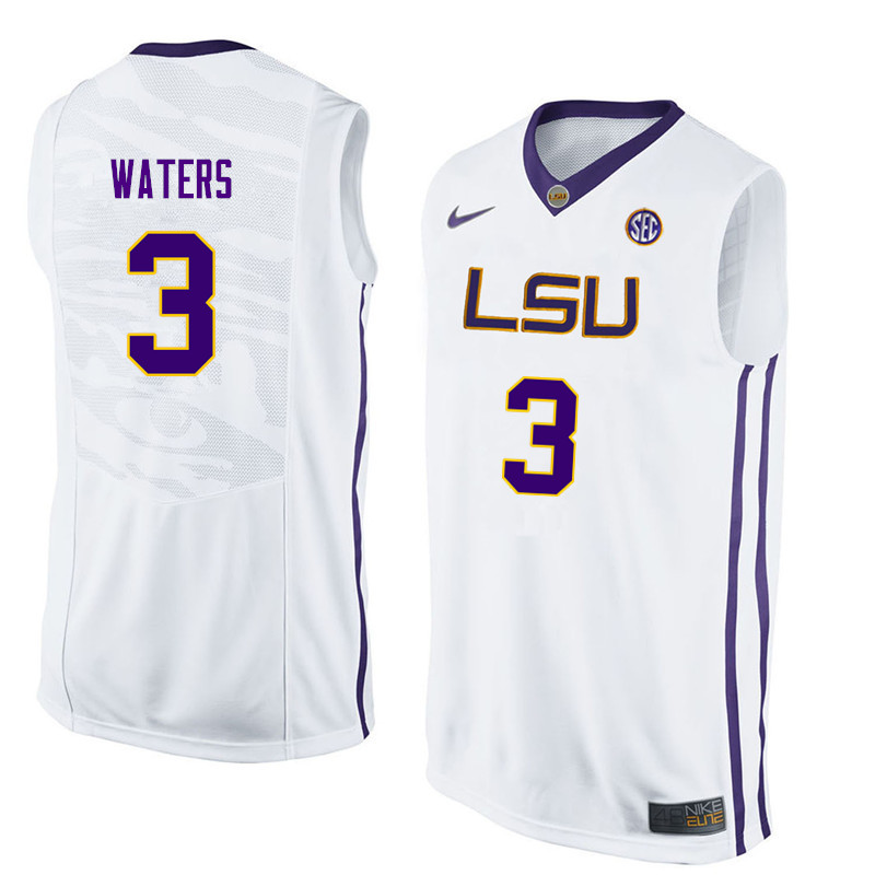 Men  3 Tremont Waters LSU Tigers College Basketball Jerseys Sale-White dccbaa21d
