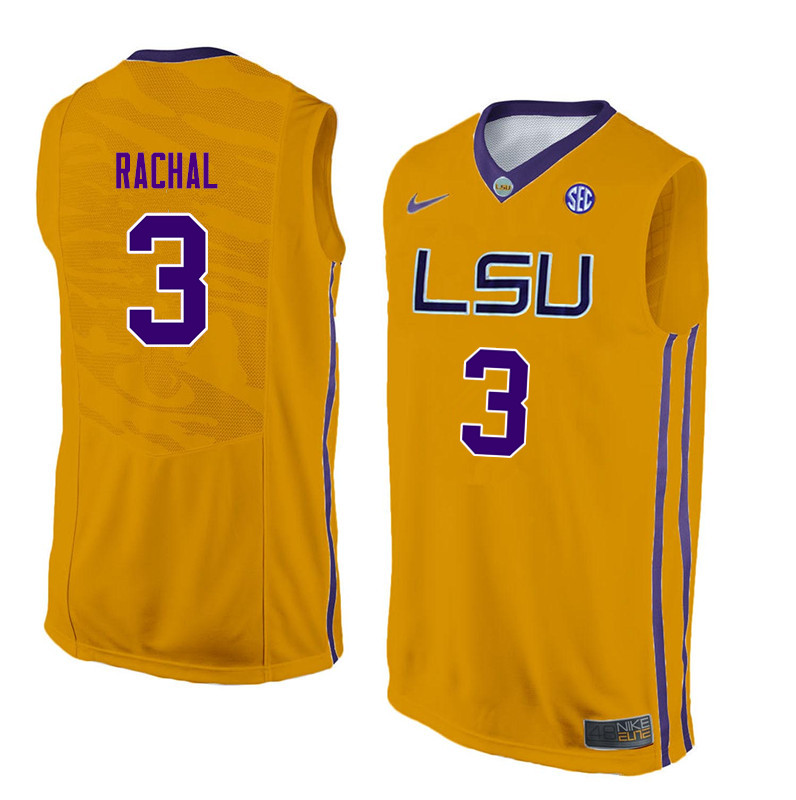 Men #3 Tremont Waters LSU Tigers College Basketball Jerseys Sale-Yellow