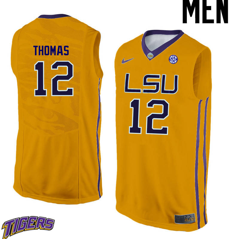 Men's #12 Tyrus Thomas LSU Tigers College Basketball Jerseys-Gold
