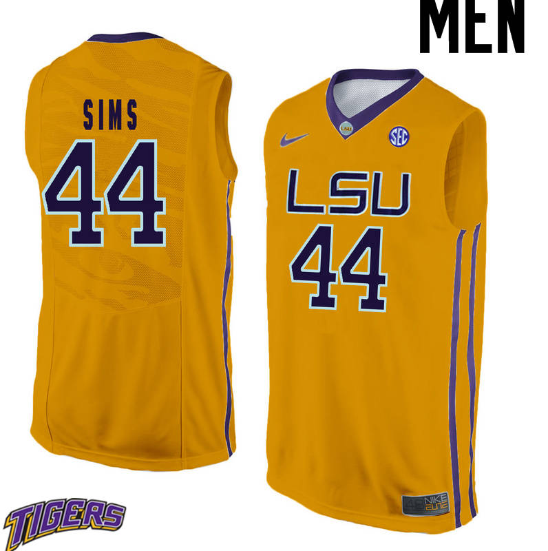 Men's #44 Wayde Sims LSU Tigers College Basketball Jerseys-Gold