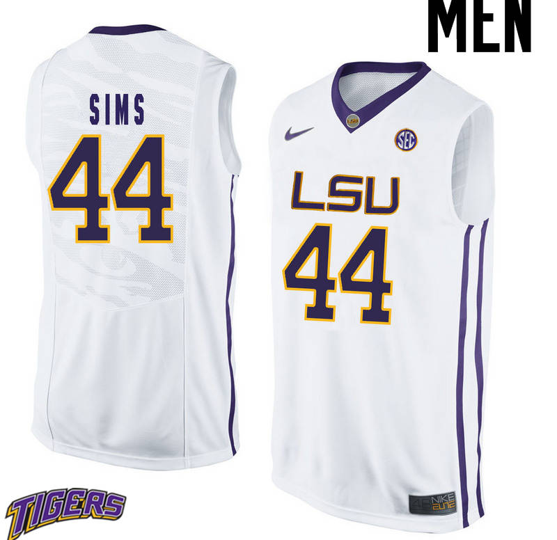 Men's #44 Wayde Sims LSU Tigers College Basketball Jerseys-White