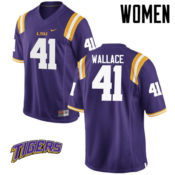 Women's #41 Abraham Wallace LSU Tigers College Football Jerseys-Purple